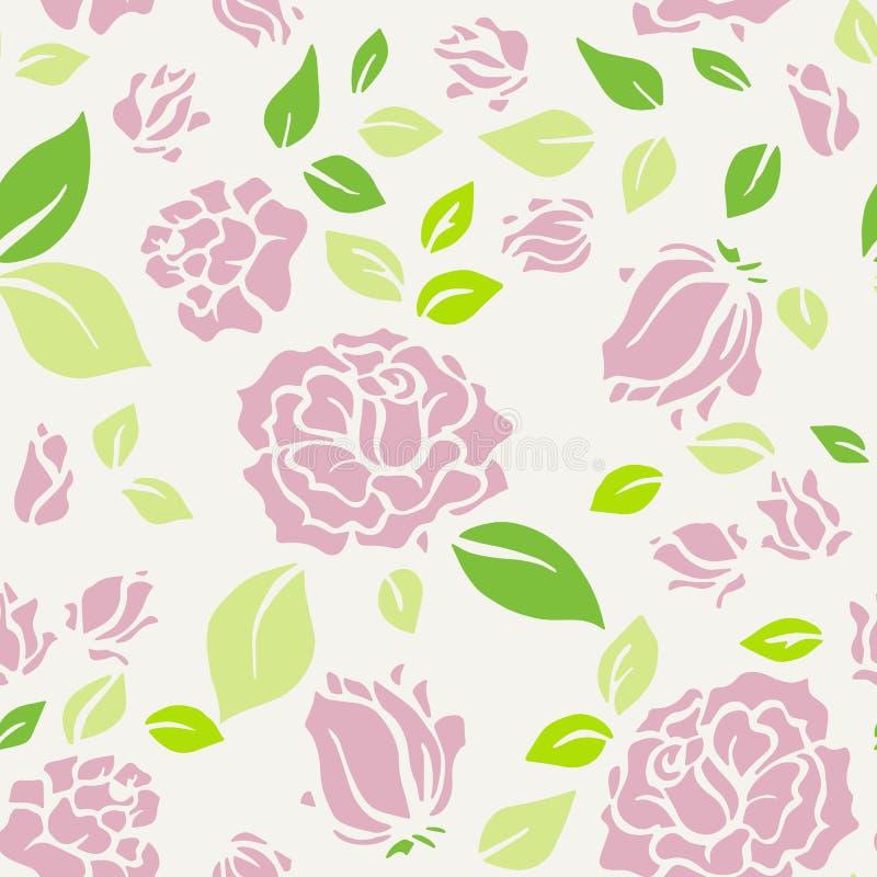 Sjaskiga chic Rose Pattern och sömlös bakgrund stock illustrationer