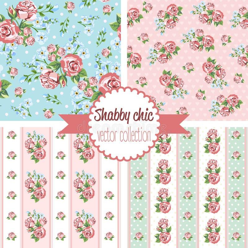 Sjaskiga chic Rose Patterns seamless set för modell Blom- modell för tappning, bakgrunder arkivbild