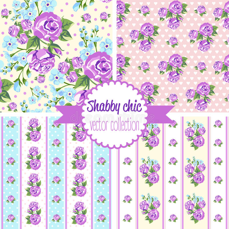 Sjaskiga chic Rose Patterns seamless set för modell Blom- modell för tappning, bakgrunder royaltyfri illustrationer