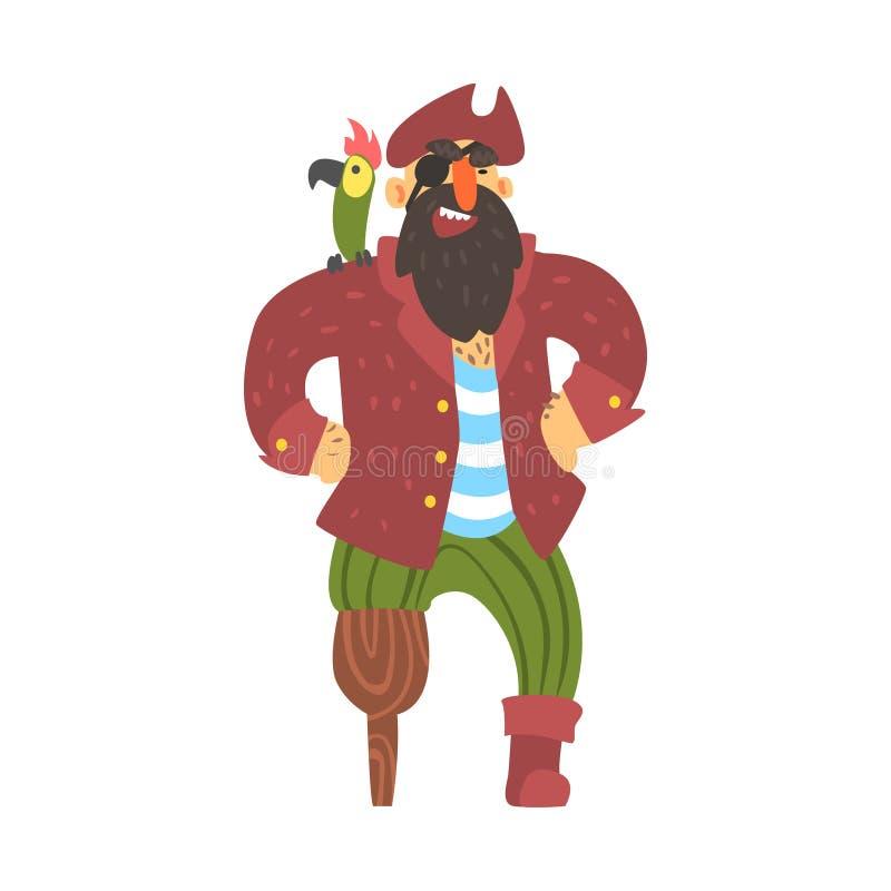 Sjaskigt piratkopiera kapten With Parrot With ett ben, och ett öga, gör obstruktion Snitt-halsen tecknad filmteckenet royaltyfri illustrationer