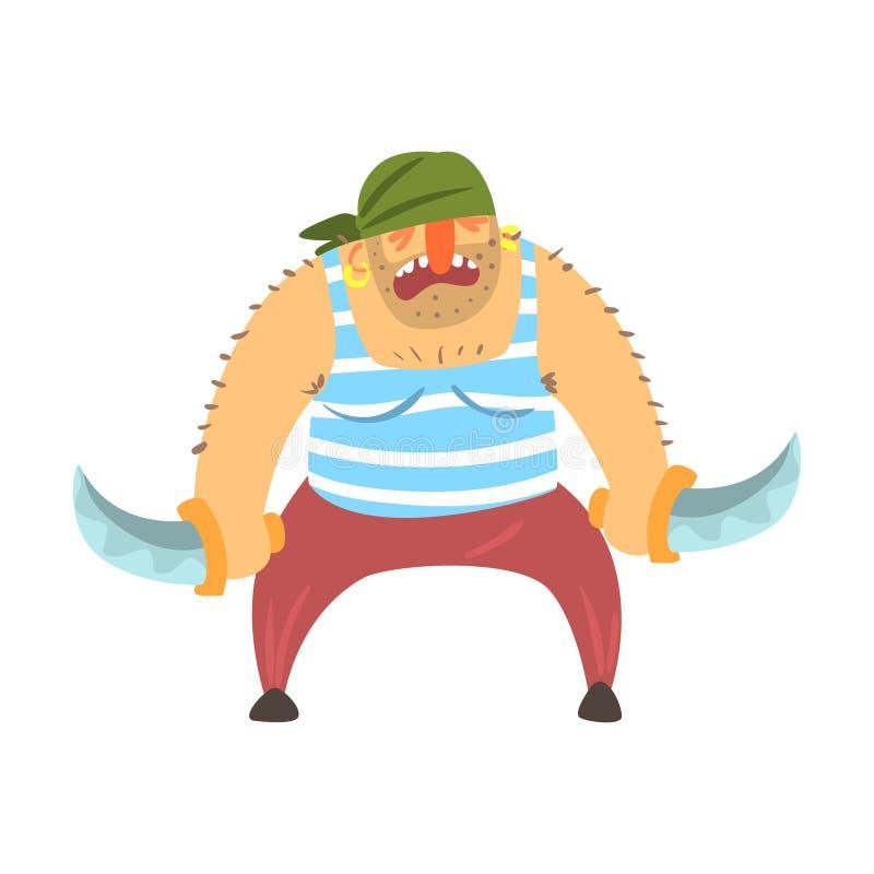 Sjaskigt piratkopiera med mustaschen i Bandana med två knivar, gör obstruktion Snitt-halsen tecknad filmteckenet stock illustrationer