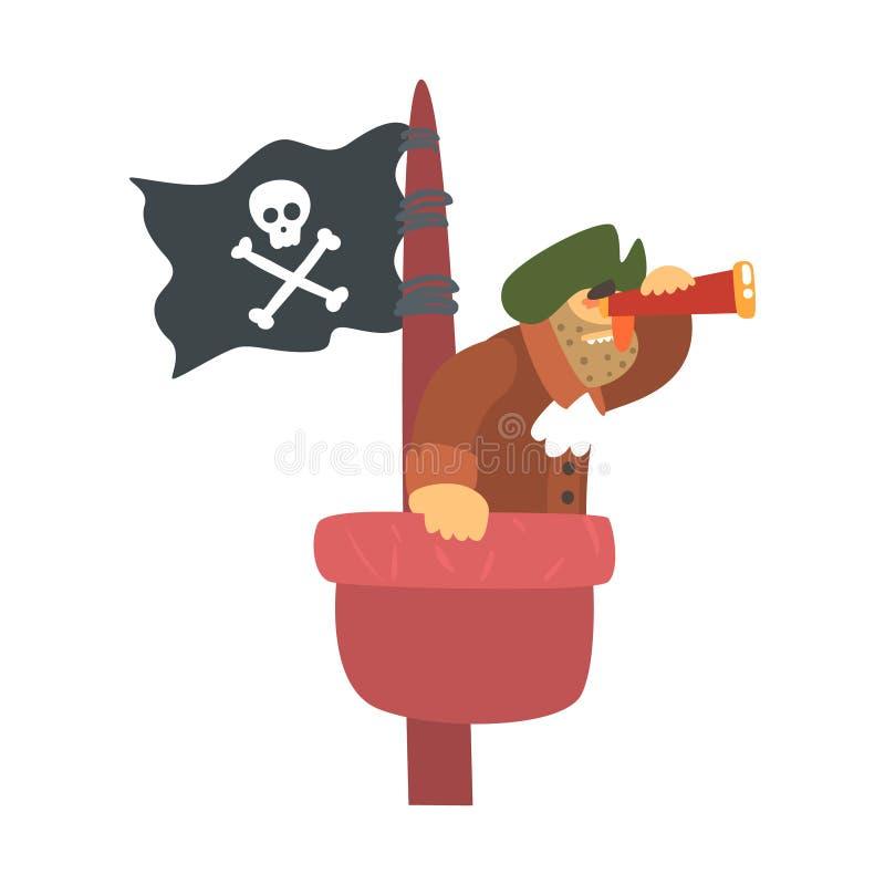 Sjaskigt piratkopiera på mastutkik med piratkopierar flaggan, och seende exponeringsglas, gör obstruktion Snitt-halsen tecknad fi vektor illustrationer