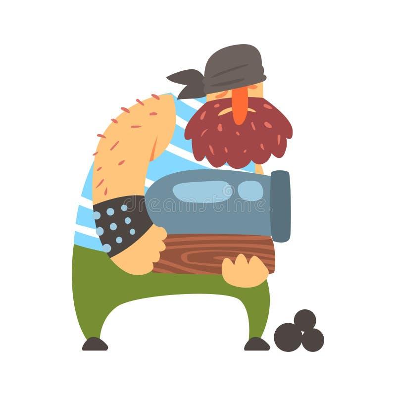 Sjaskigt piratkopiera strongmanen som rymmer en kanon, gör obstruktion Snitt-halsen tecknad filmteckenet stock illustrationer