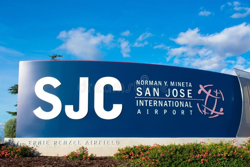 SJC Norman Y Cartel del Aeropuerto Internacional de Mineta San José anuncia un aeropuerto público de propiedad de la ciudad fotos de archivo libres de regalías