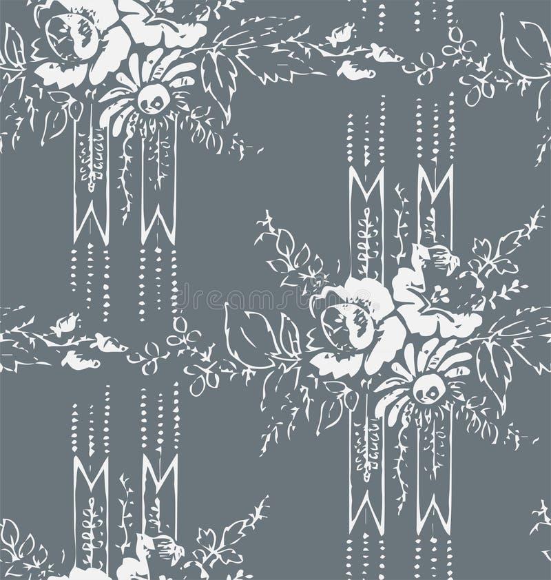 Sjofel abstract damast naadloos vector victorian patroon wallpapper vector illustratie