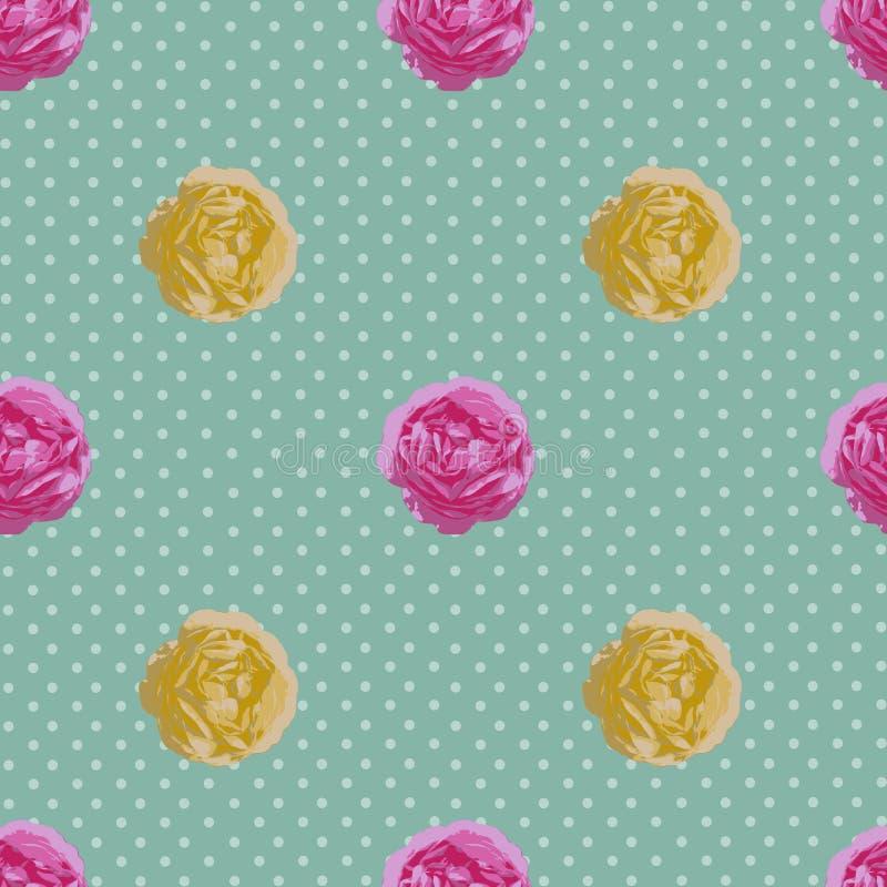 Sjofel Elegant naadloos patroon Vector uitstekende rozen stock illustratie
