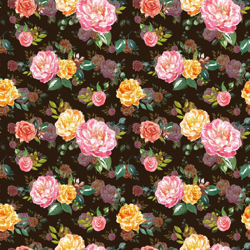 Sjofel elegant watercolour bloemen naadloos patroon De hand schilderde roze en gele bloemen op chocoladebruine achtergrond stock foto