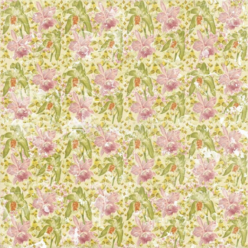 Sjofel langzaam verdwenen naadloos bloemenpatroonbehang stock foto