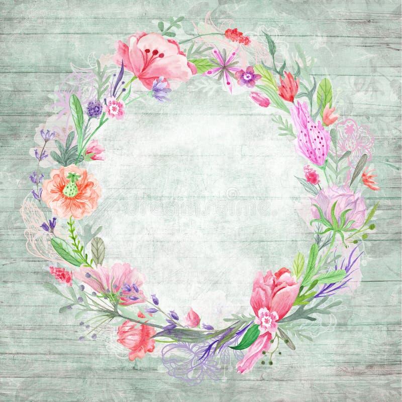 Sjofele Elegante Achtergrond met Bloemenkroon vector illustratie