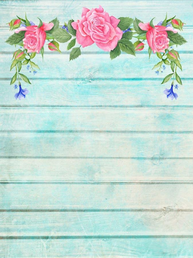 Sjofele Elegante Houten Achtergrond met Bloemenvignet royalty-vrije illustratie