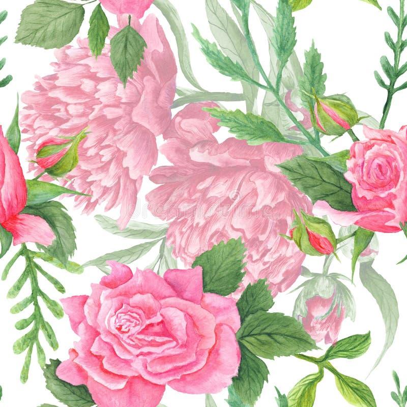Sjofele Elegante Waterverfpioen en Rose Pattern stock illustratie