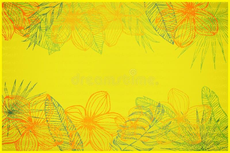 Sjofele gele exemplaarruimte, ontwerpend van plumeriabloemen en tropische bladeren royalty-vrije illustratie