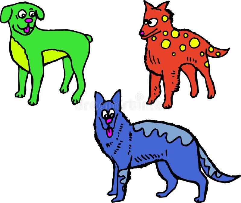Sjofele honden stock illustratie