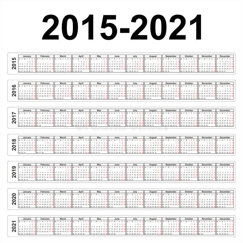 Sju år vektorkalendrar stock illustrationer