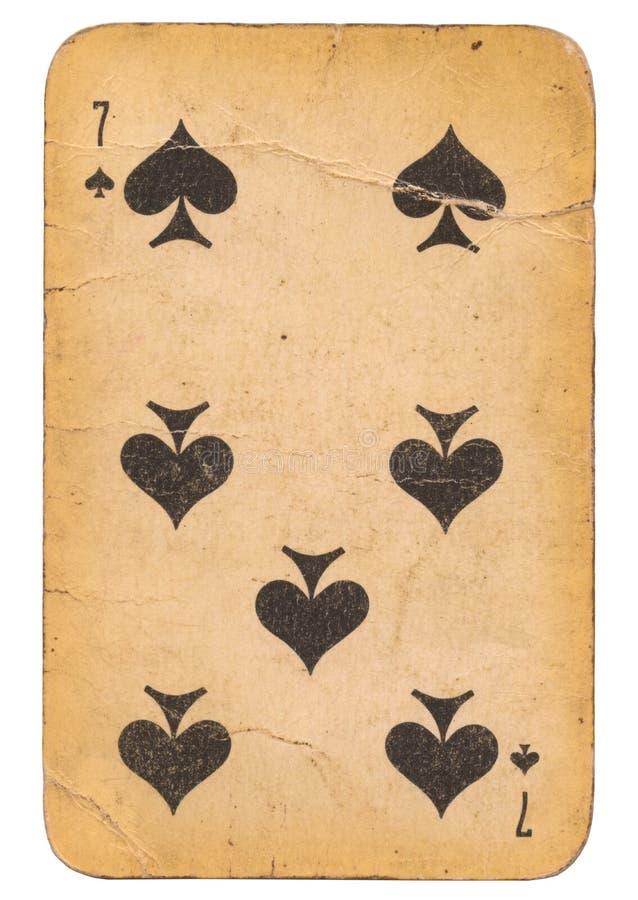 Sju av kortet för gammal stil för grunge för spadar det spela sovjetisk arkivbilder