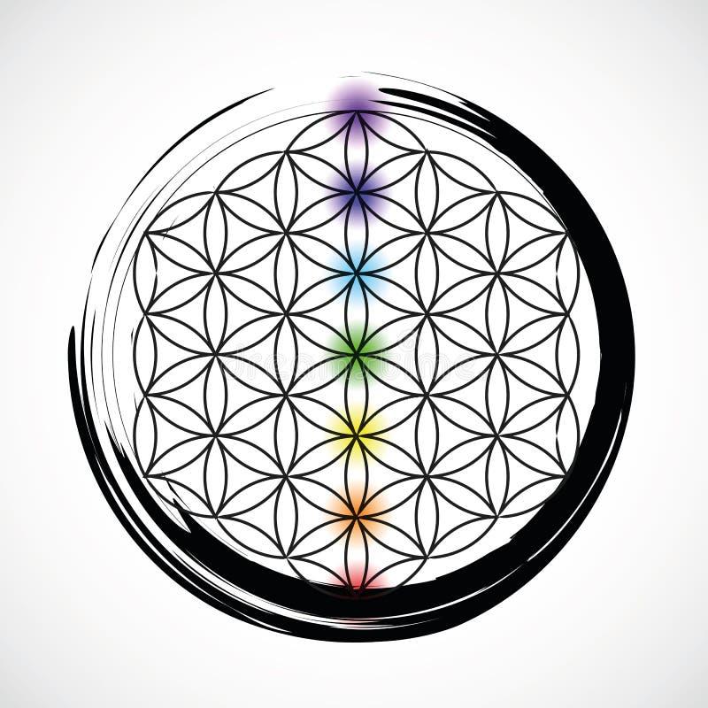 Sju chakras och blomma av liv vektor illustrationer