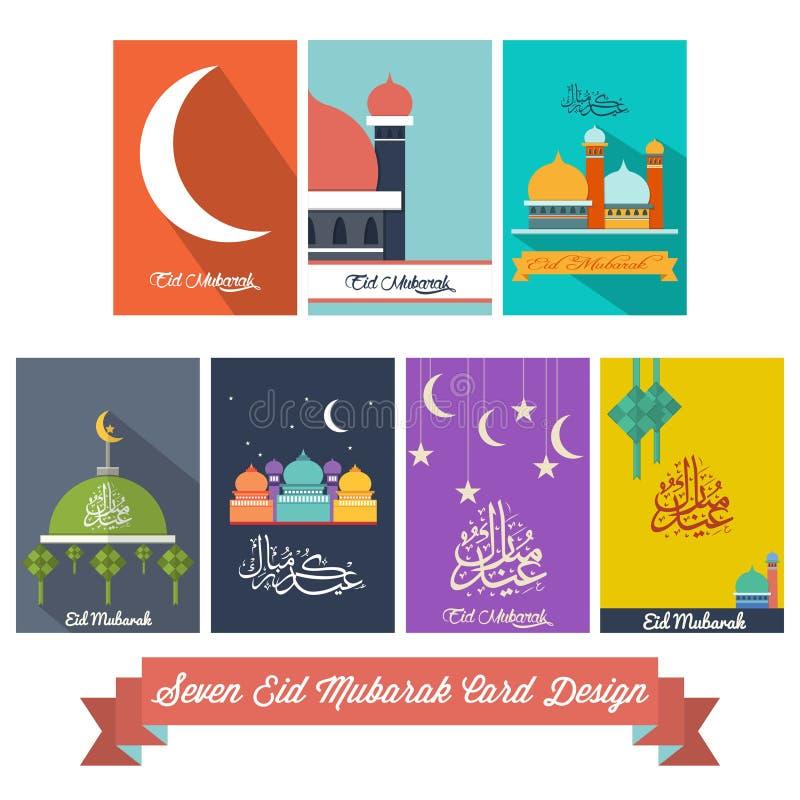 Sju Eid Mubarak Flat Design Card royaltyfri illustrationer