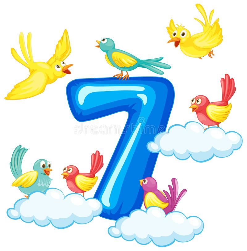 Sju fåglar på nummer vektor illustrationer