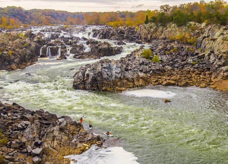 Sju nedgångar delstatspark, Washington DC, Virginia, VA royaltyfri fotografi