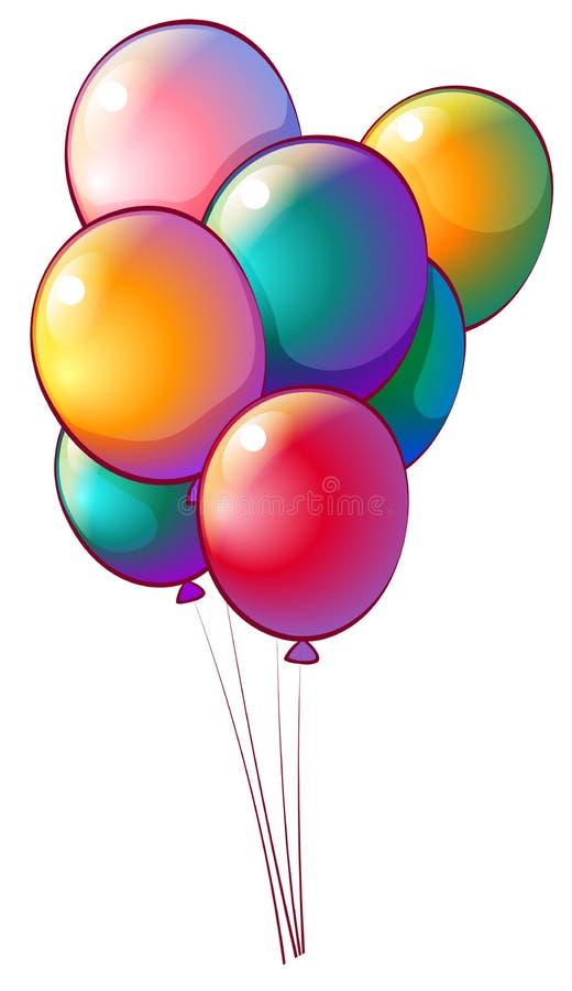 Sju regnbåge-färgade ballonger royaltyfri illustrationer