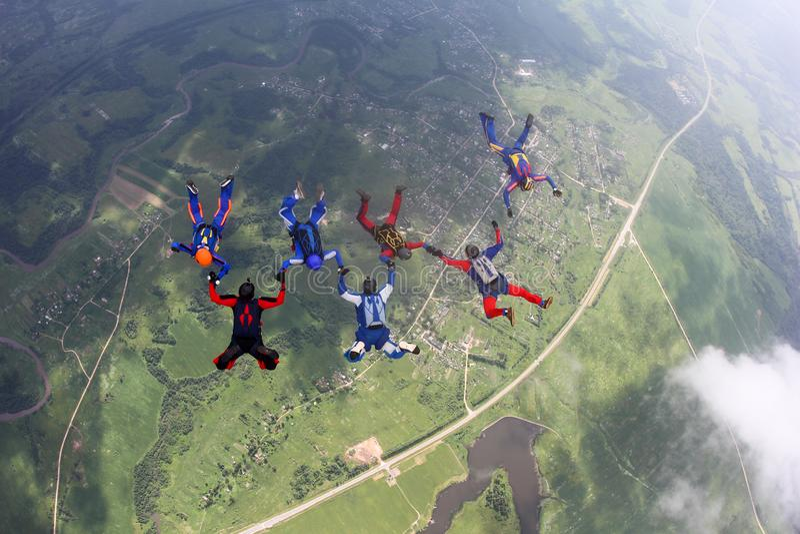Sju skydivers är i himlen royaltyfri bild