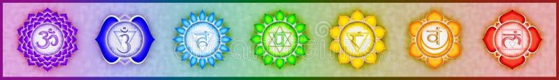 Sju strömförsörjningen Chakras royaltyfri illustrationer