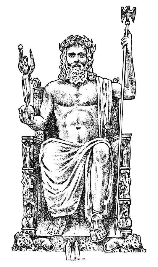 Sju under av den forntida världen Staty av Zeus p? Olympia Den stora konstruktionen av grekerna Inristad hand som dras stock illustrationer