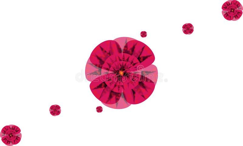 Sju vektorlilablommor arkivbild
