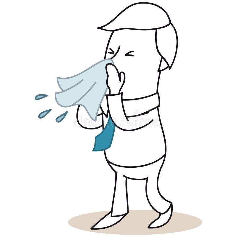 Sjuk affärsman som blåser hans näsa stock illustrationer