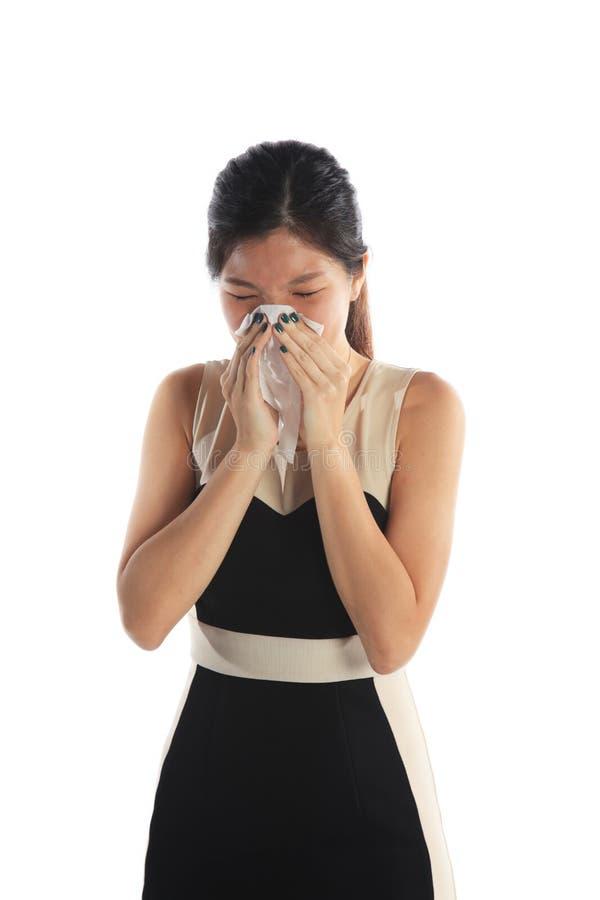 Sjuk asiatisk kvinna arkivbild