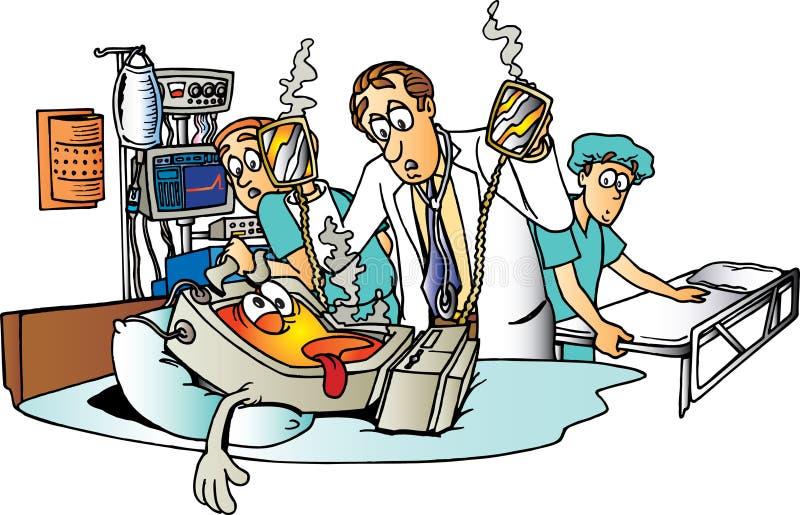 sjuk dator stock illustrationer