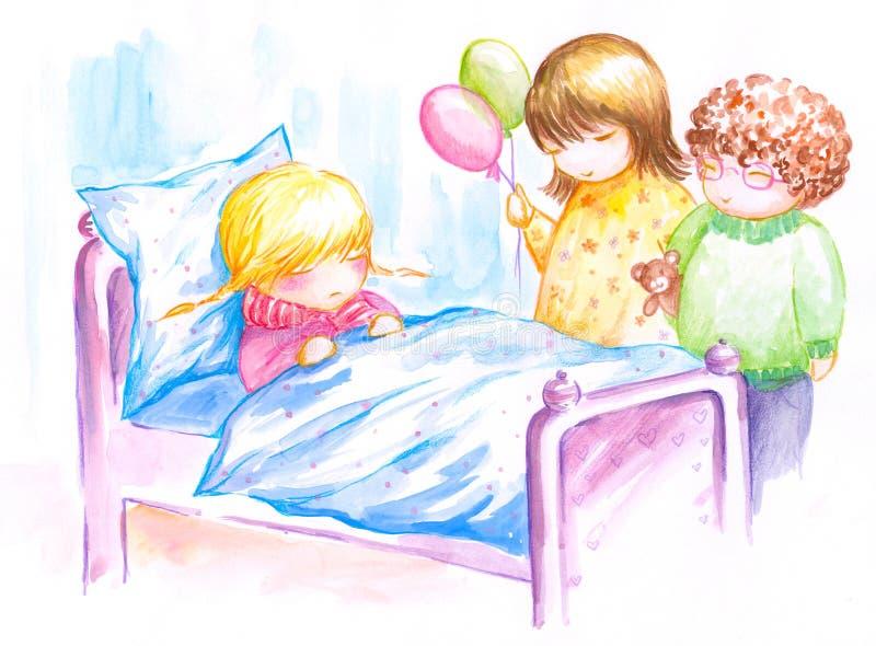 sjuk flicka stock illustrationer