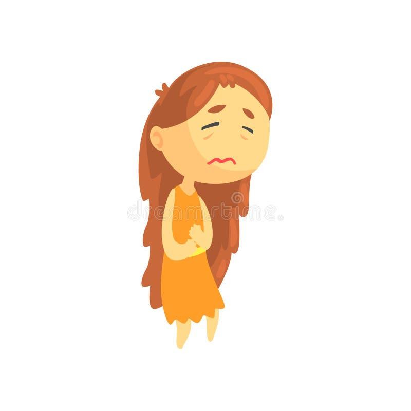 Sjuk flicka med långt hårlidande från mageknipet, opasslig tonårig behövande medicinsk vektor för hjälptecknad filmtecken stock illustrationer