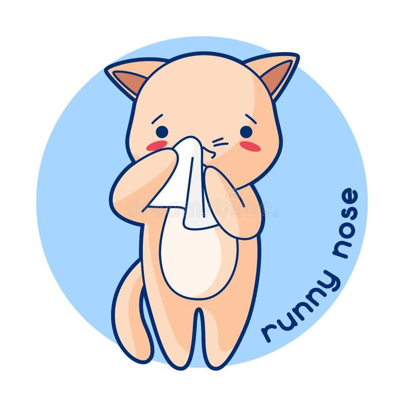Sjuk gullig kattunge för rinnande näsa Illustration av kawaiikatten royaltyfri illustrationer