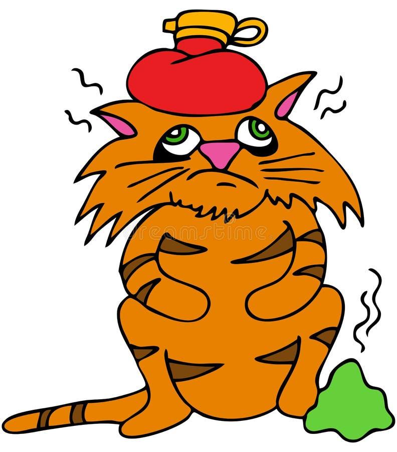 sjuk katt stock illustrationer