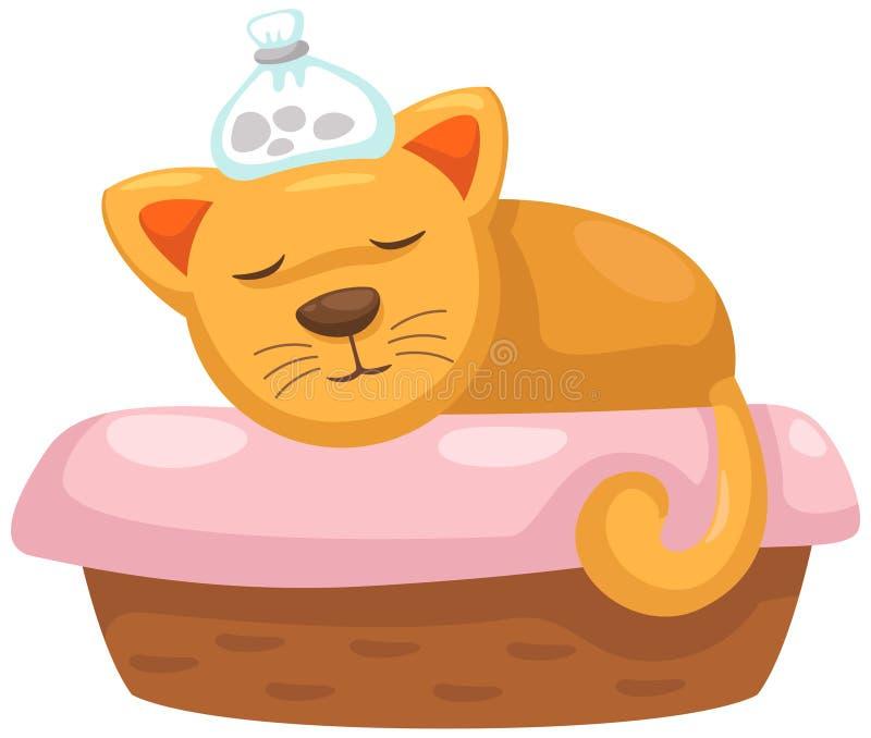 Sjuk katt i korgen stock illustrationer