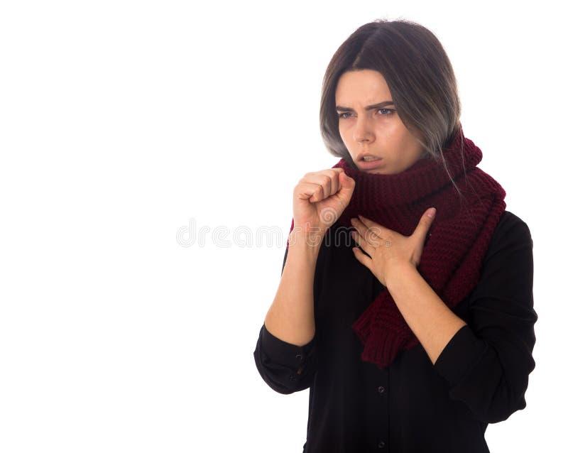 Sjuk kvinna med att hosta för halsduk arkivfoto