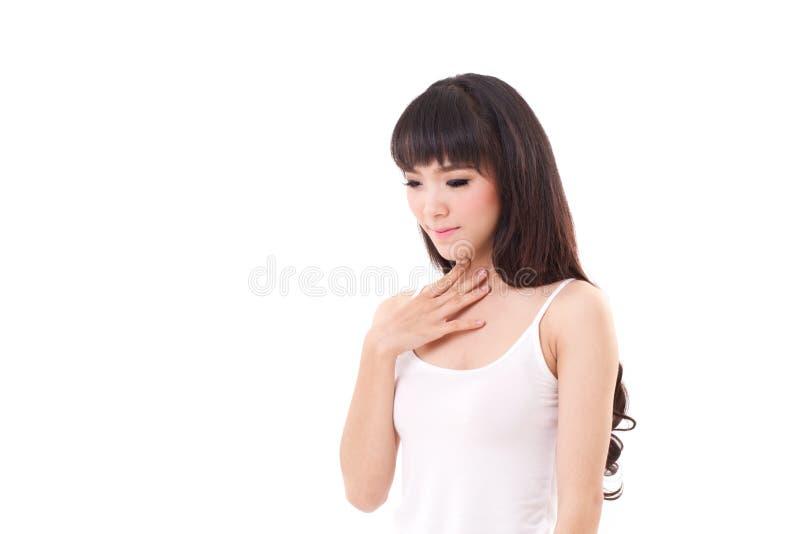 Sjuk kvinna med den öm halsen eller gerd arkivfoto