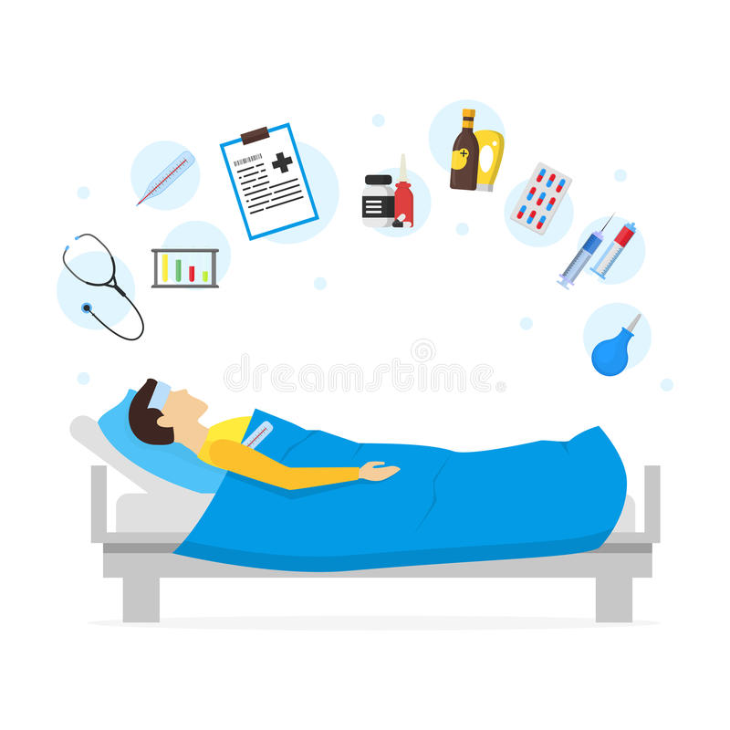 Sjuk man för tecknad film i säng och beståndsdeluppsättning vektor stock illustrationer