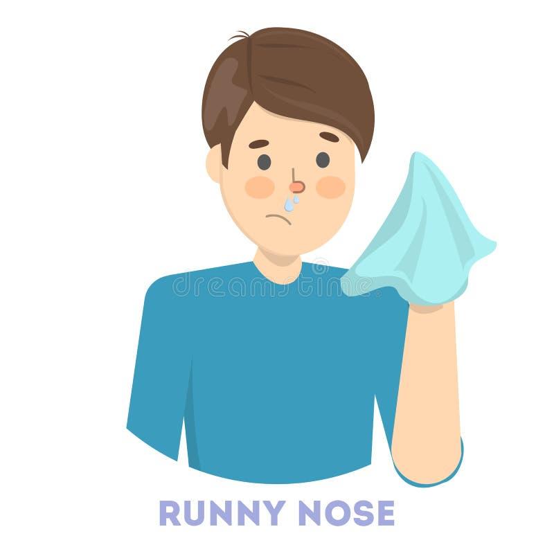 Sjuk man med den rinnande näsan ett tecken av influensa royaltyfri illustrationer