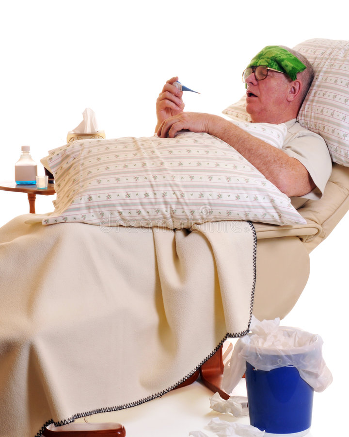 sjuk pensionär arkivfoton
