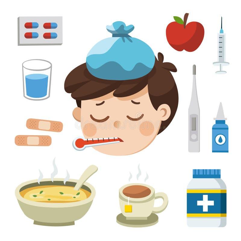 Sjuk pojke med termometern i hans mun Dålig känsla vektor illustrationer