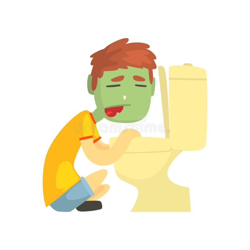 Sjuk pojke som spyr in i illustrationen för vektor för tecken för tecknad film för toalettbunke vektor illustrationer