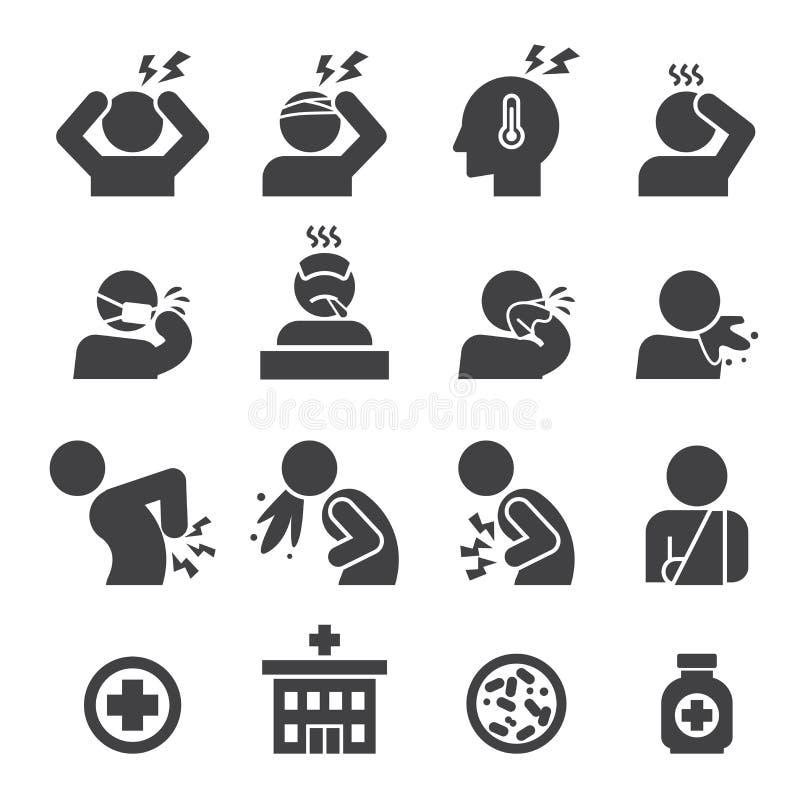 Sjuk symbolsuppsättning vektor illustrationer