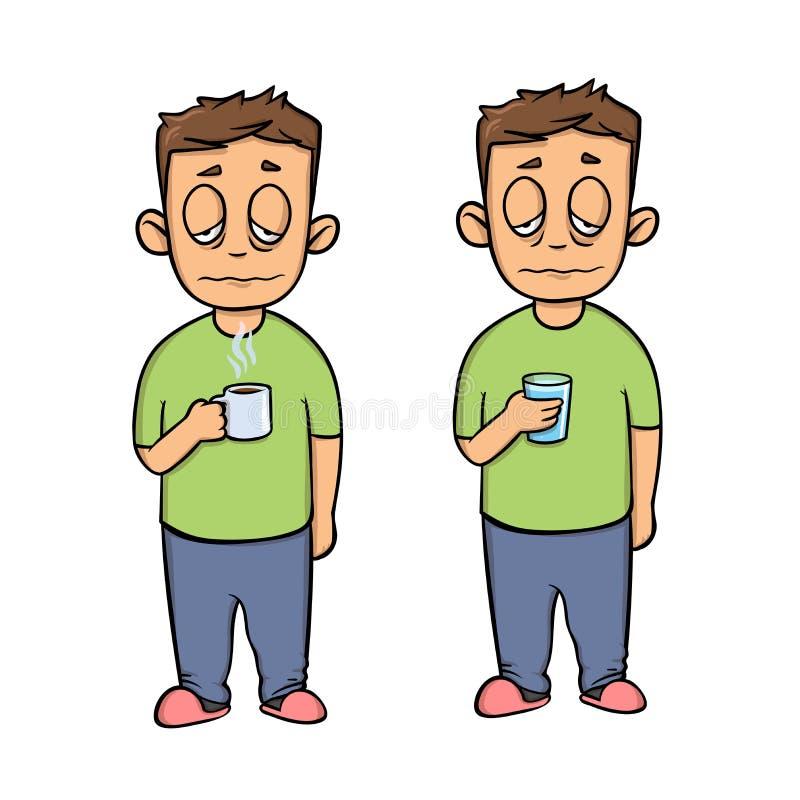 Sjuk ung man med en kopp, tecknad filmtecken Uppsättning av två diagram Plan designsymbol Plan vektorillustration isolerat royaltyfri illustrationer