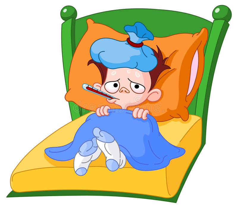 sjuk unge royaltyfri illustrationer