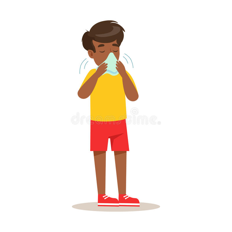 Sjuk unge som blåser hans näsa som känner opassligt lidande från den kalla sjukdomen som behöver för hjälptecknad film för sjukvå stock illustrationer