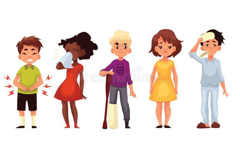 Sjuka barn - kall temperatur för knip för chieckenpoxbenbrottmage stock illustrationer