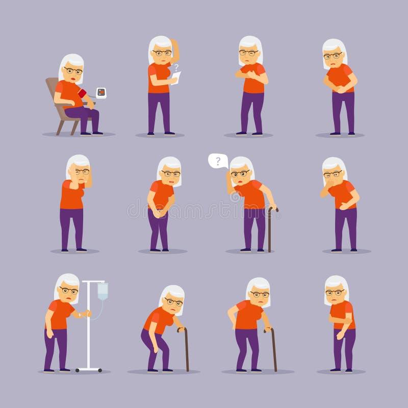 Sjuka symboler för äldre kvinna stock illustrationer