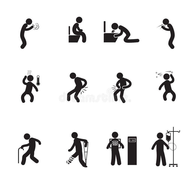 Sjuka symboler för folk royaltyfri illustrationer